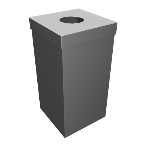 Indoor Trash Can 1 - Stainless Steel 3D Model