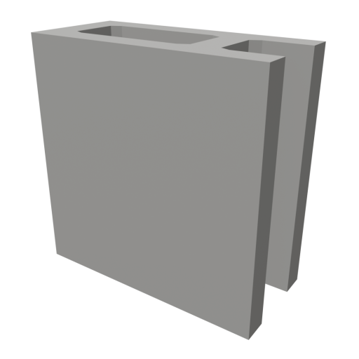Concrete Block 2 - Half 3D Model