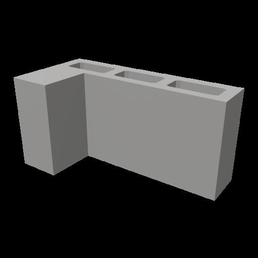 Concrete Block 2 - L-Corner 3D Model