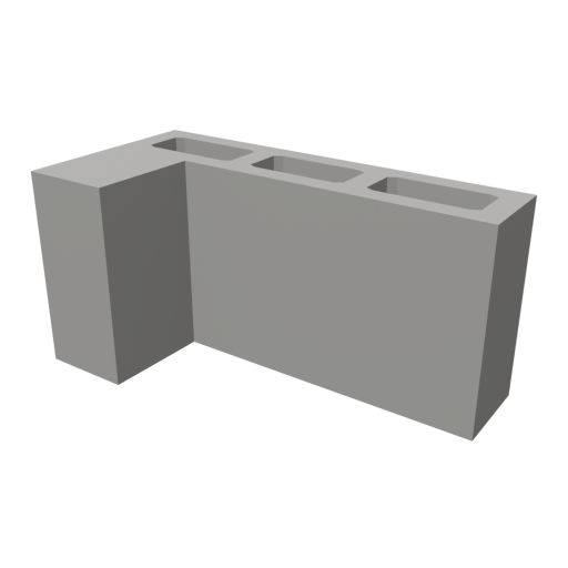 Concrete Block 2 - L-Corner 3D Model