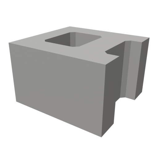 Concrete Brick 1 - Half 3D Model