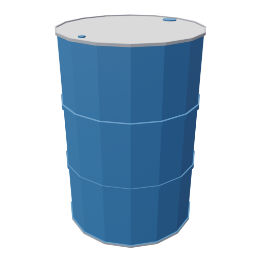 Drum 55 Gallon Metal 1 - Blue 3D Model