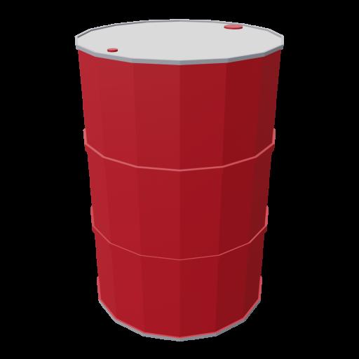 Drum 55 Gallon Metal 1 - Red 3D Model
