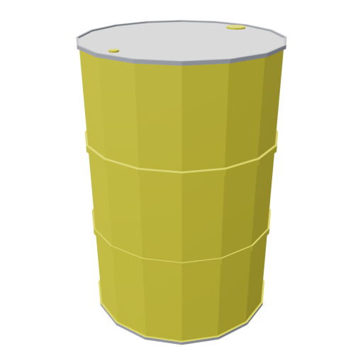 Drum 55 Gallon Metal 1 - Yellow 3D Model