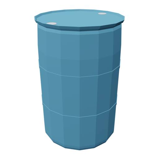 Drum 55 Gallon Plastic 1 - Blue 3D Model