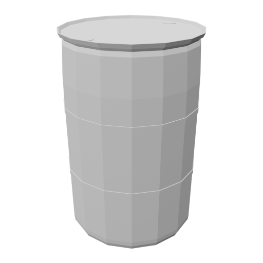 Drum 55 Gallon Plastic 1 - White 3D Model