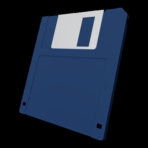 3.5 Inch Floppy Disk 1 - Blue 3D Model
