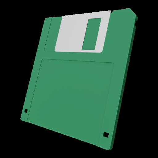 3.5 Inch Floppy Disk 1 - Green 3D Model