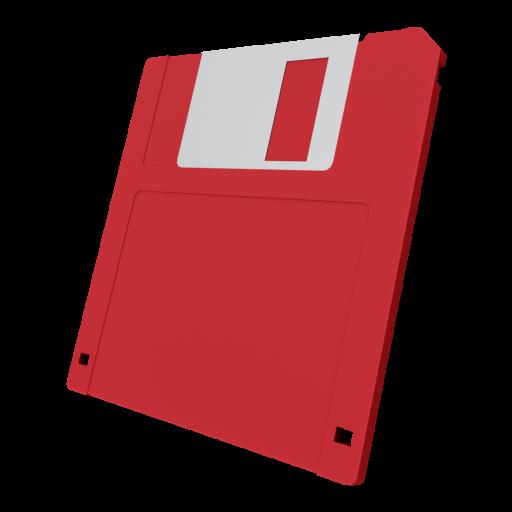 3.5 Inch Floppy Disk 1 - Red 3D Model