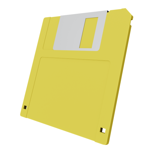 3.5 Inch Floppy Disk 1 - Yellow 3D Model