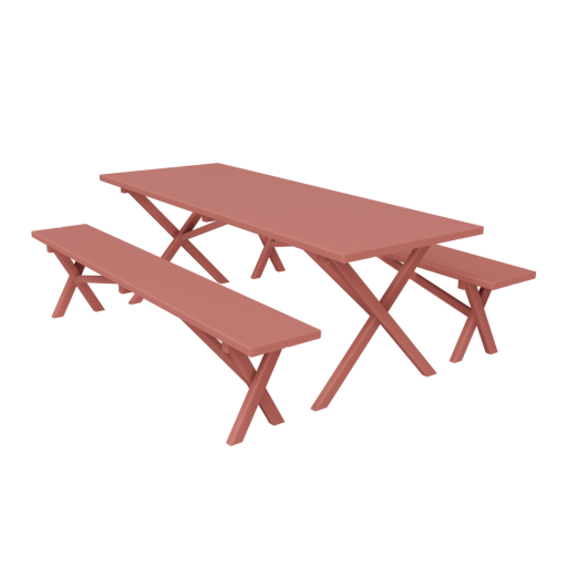 Picnic Table 1 - Red 3D Model