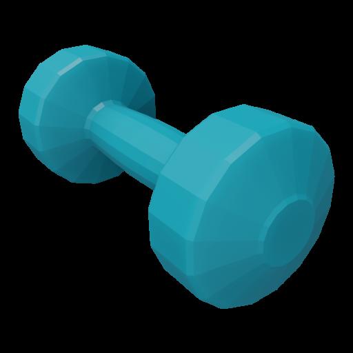 Dumbbell Plastic 1 - Small - Blue 3D Model