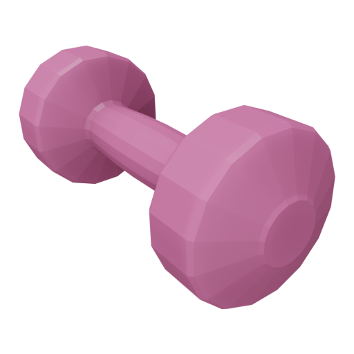 Dumbbell Plastic 1 - Small - Pink 3D Model